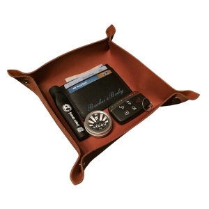 WHISKEY BROWN NECESSITIES TRAY - BACCHUS & BARLEY LEATHER NECESSITIES COMPARTMENT
