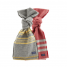 FARIBAULT WOOLEN MILL CO TRAPPER WOOL SCARF - RED AND GREY