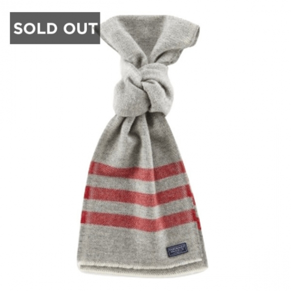 FARIBAULT WOOLEN MILL CO TRAPPER WOOL SCARF - GREY AND RED
