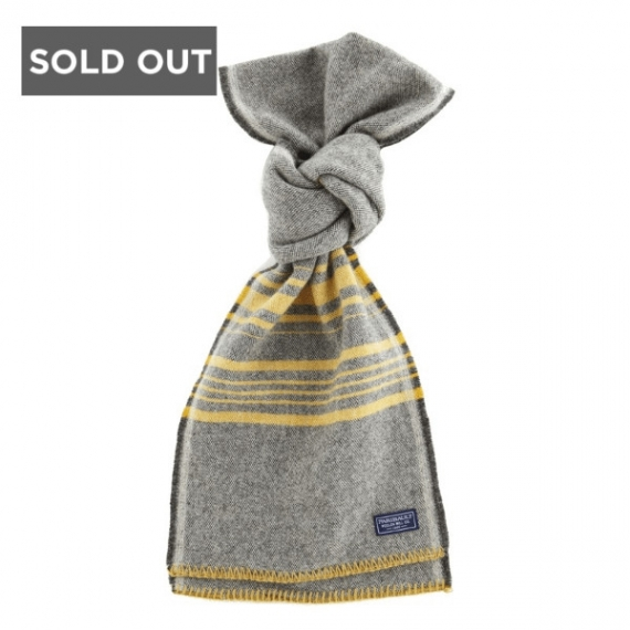 FAIRBAULT WOOLEN MILL CO WEEKENDER STRIPE WOOL SCARF - CHARCOAL AND GOLD