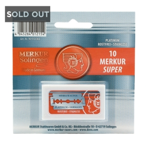 SUPER PLATINUM - MERKUR DOUBLE EDGE RAZOR BLADES - 10 PACK