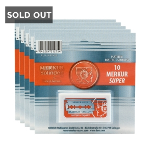 SUPER PLATINUM - MERKUR DOUBLE EDGE RAZOR BLADES - 50 PACK