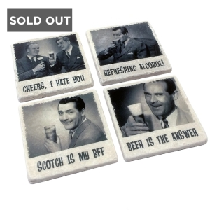 RETRO BEER MARBLE COASTERS - VERSATILE - PACK OF 4