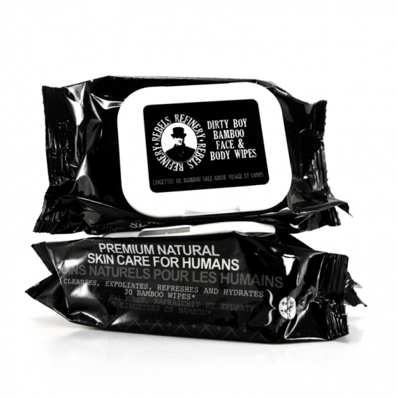 BAMBOO WIPES DIRTY BOY - REBELS REFINERY MEN'S GROOMING - 30 x FACE & BODY WIPES