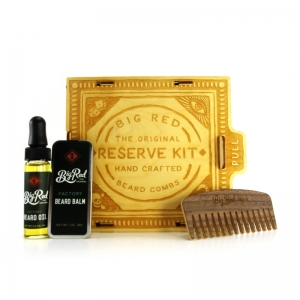 ENSEMBLE D'ENTRETIEN DE BARBE RESERVE KIT - BIG RED BEARD COMBS - HUILES À BARBE, BAUME À BARBE ET PEIGNE À BARBE