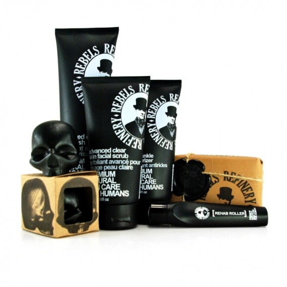 TOTAL SKIN CARE PACKAGE - REBELS REFINERY - FACE WASH & SCRUB, EYES MOISTURIZER & ANTI-WRINKLE, LIP BALM & BODY SOAP KIT