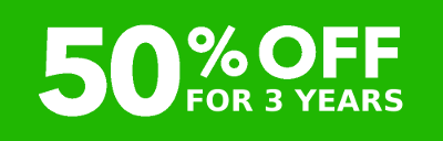 50% OFF for 3 years