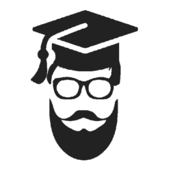 bearded man with a graduation hat icon
