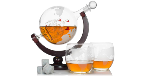 The Atterstone globe-shaped Whiskey decanter set with stones, glasses and funnel
