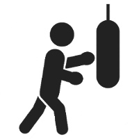 Icon of a man striking in punching bag. This icon represent the importance of physical activity.
