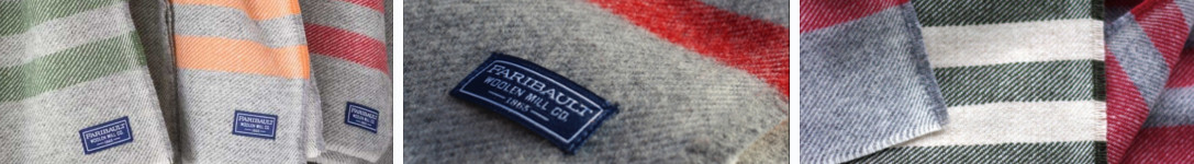 Features images of the Faribault Woolen Mill Co brand