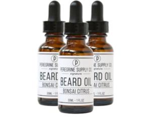 3 bottles of Peregrine Supply Bonsai Citrus Beard Oil