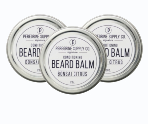 3 tin of Peregrine Supply Bonsai Citrus Beard Balm