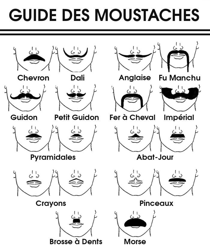 les 13 styles de moustache les plus populaires. Black Bedroom Furniture Sets. Home Design Ideas
