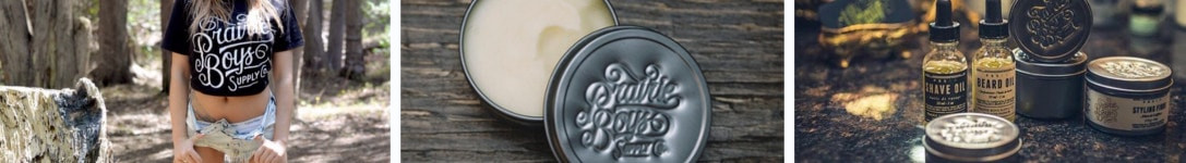 Features images of the Prairie Boys Supply Co beard grooming brand