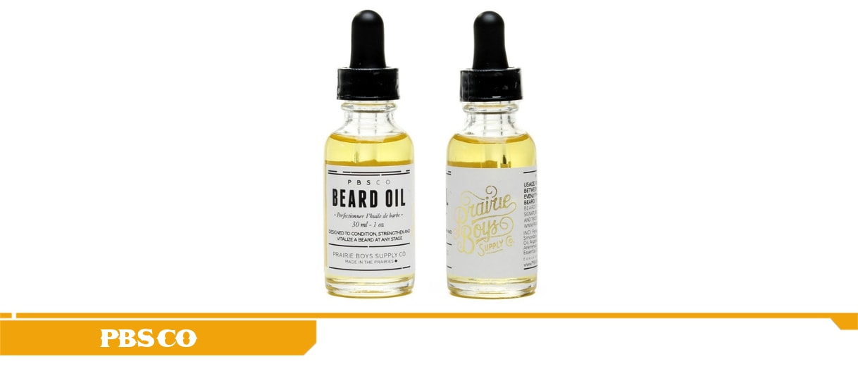 Here is the Prairie Boy Supply Co. Perfecting Beard oil presented in the beard-kings products description yellow frame