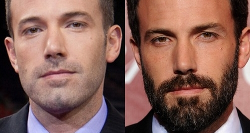 Ben Affleck with and without beard