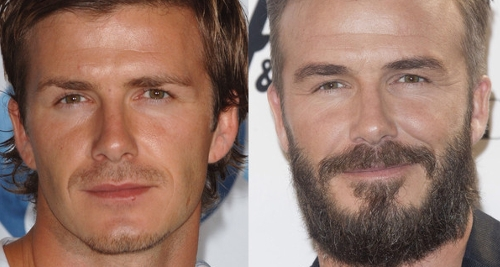 David Beckham with and without beard