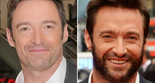 Hugh Jackman with and without beard