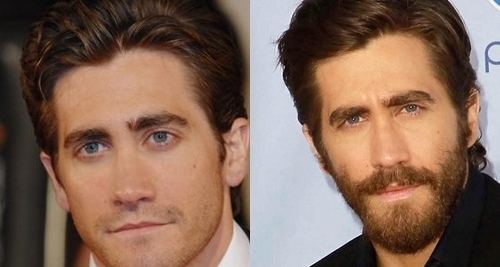 Jake Gyllenhaal with and without beard