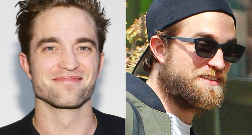 Robert Pattinson with and without beard