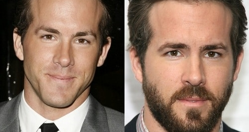 Ryan Reynolds with and without beard