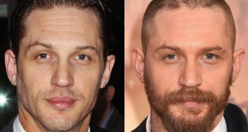Tom Hardy with and without beard